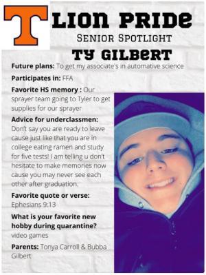 Ty Gilbert Senior Spotlight Information