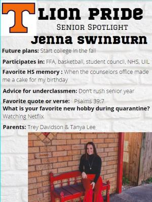Jenna Swinburn Senior Spotlight Information