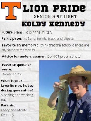 Kolby Kennedy Senior Spotlight Information