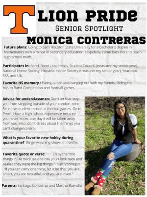 Monica Contreras Senior Spotlight Information