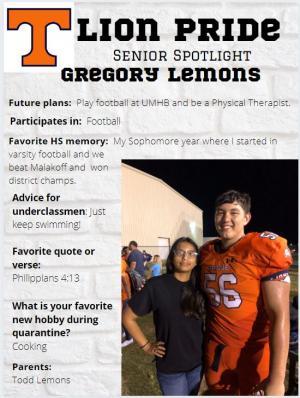 Gregory Travis Lemons Senior Spotlight Information