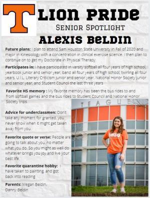 Alexis Beldin Senior Spotlight Information