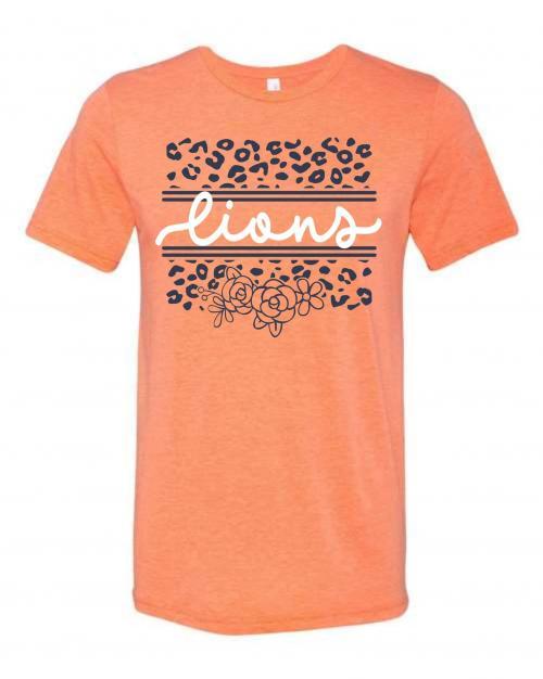 Orange Scroll Lions Tshirt
