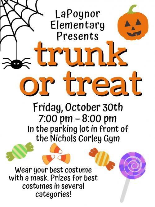 Trunk or Treat October 30th at 7pm