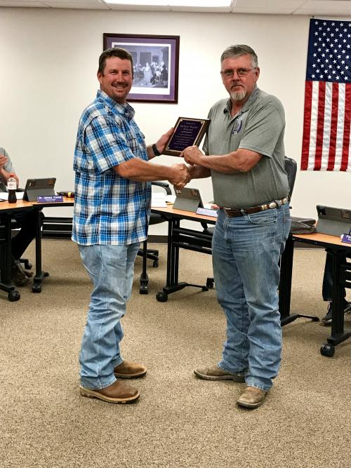 At the October board meeting LaPoynor ISD Board President recognized Board Member Richard Holcomb In appreciation for 19 years of dedicated service as a member of the LaPoynor ISD Board of Trustees.