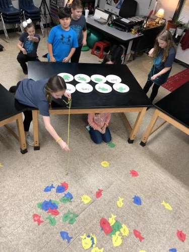 Picture of kids performing group activity around table.