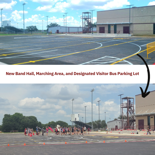 Band Hall/Marching Area, Visitor Bus Parking