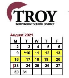 Troy ISD Board of Trustees Approves 2021-2022 District Calendar