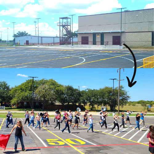 Practice Marching Field (Lot) + Band Director Tower