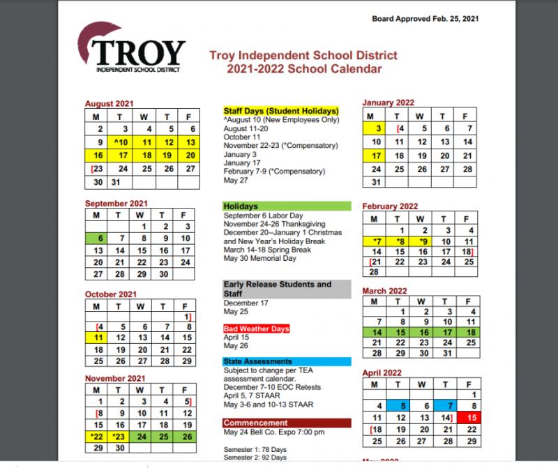 Troy ISD 2021-2022 District Calendar