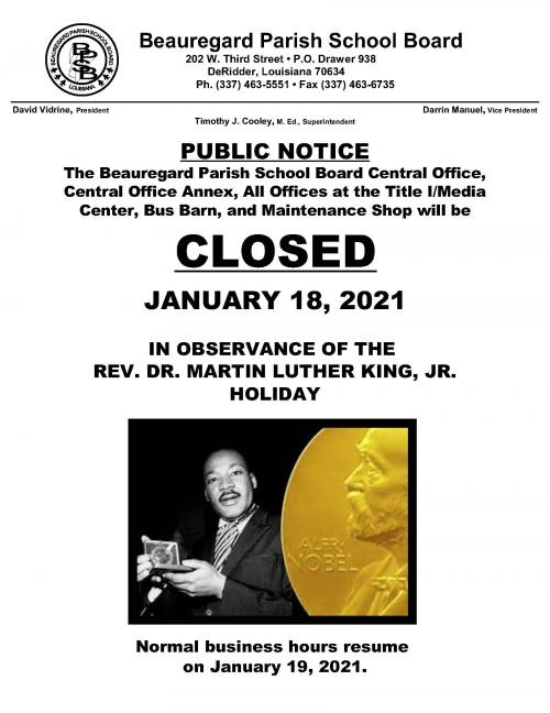 MLK HOLIDAY CLOSING NOTICE