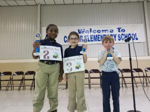 2nd Grade Spelling Bee Winners (1st - Brayden Magee, 2nd - Ashlynn Perry, 3rd  -Jayce Back)