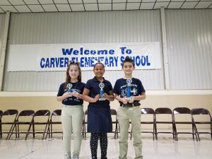 2rd Grade Spelling Bee Winners (3rd - Haleigh Dyson, 2nd - Parker Williams, 1st - Luke Lestage)