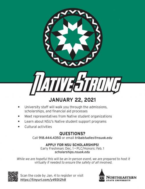 poster about assistance for native american students at nsu