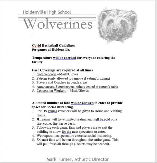 COVID guidelines for Holdenville basketball game