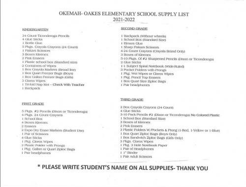 Kindergarten through 3rd grade school supply list