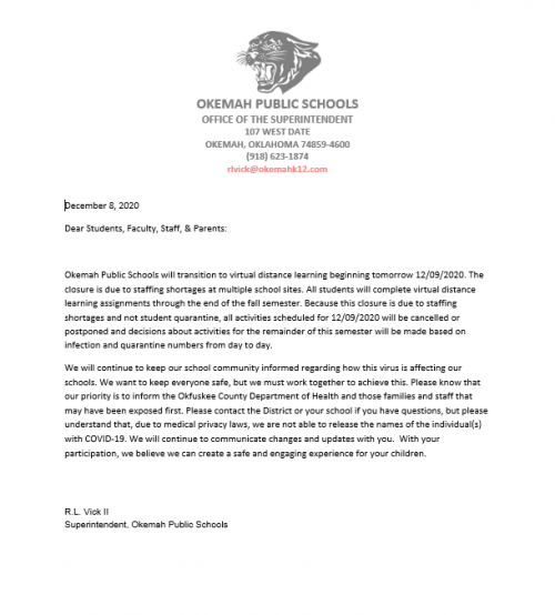 school closure letter december 8