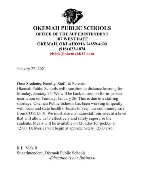 distance learning on January 25