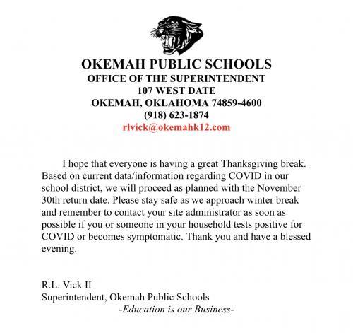 Return to school notice 11/30/20