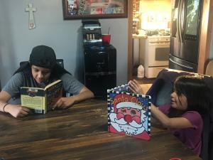 Myranda and Jael enjoy some good books.