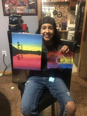 Myranda created some amazing art. The painting on the left is unique in that it can appear to be a sunrise or a sunset.