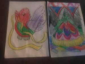 Cayden spent time coloring.