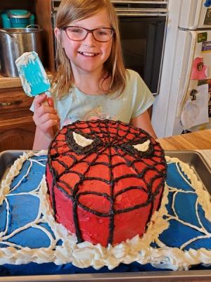 Emily Tanner made a Spiderman cake.