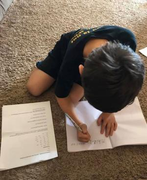 Jace Copeland keeping up his school work.