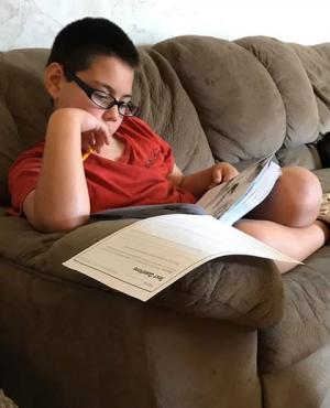 Michael Copeland studying hard.