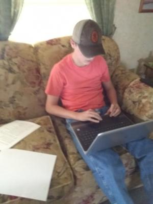 Wes Wilks working on his assignments.