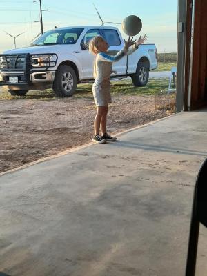 Laramie Moore enjoys some sunshine and exercise.