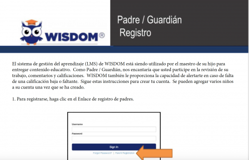 Parent Registration Directions in Spanish