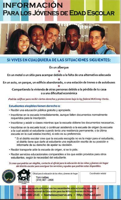 Informacion para los jovenes edad escolar