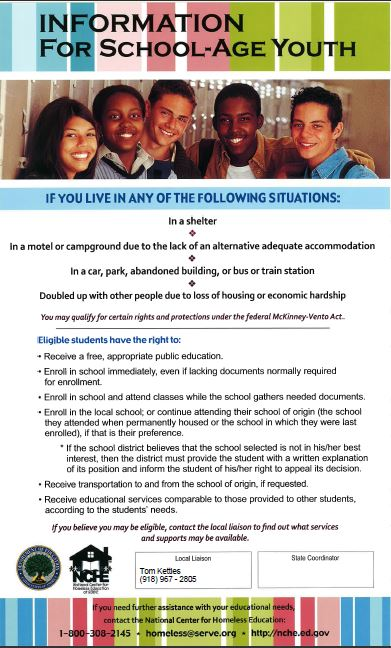 Homeless information for school-age youth