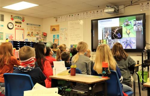 Students meeting with virtual author