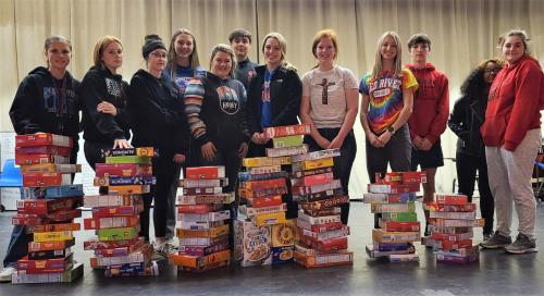 FCCLA Members with cereal donations