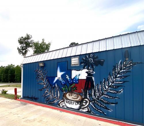 silver fern coffee shop texas theme mural