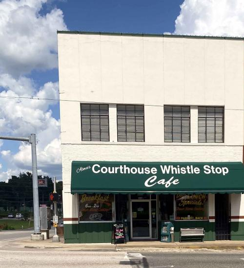 alma's courthouse whistle stop store front