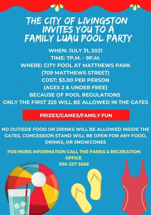 city pool luau flyer