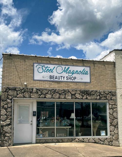 steel magnolia hair salon store front