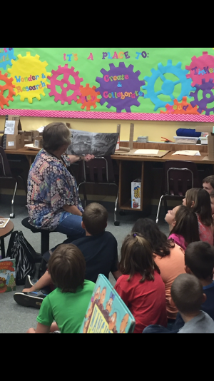 Kay Garvin reading to to a third grade class.