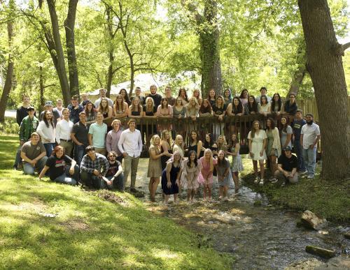 2020-2021 Senior Class Picture on bridge in park below school