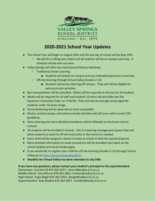 2020-2021 School Year One Page Document