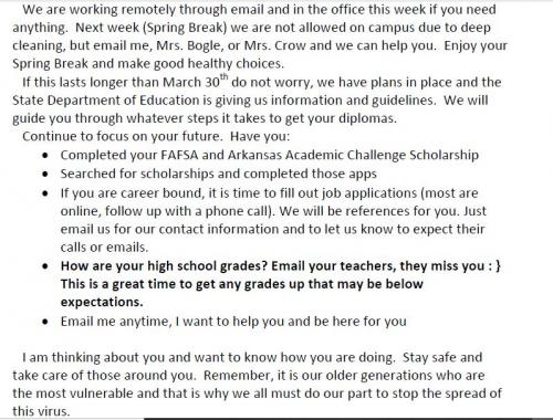 March Message to Seniors