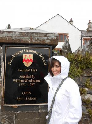 In front of the school William Wordsworth (famous British poet) attended