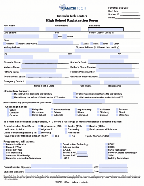 HS enrollment form