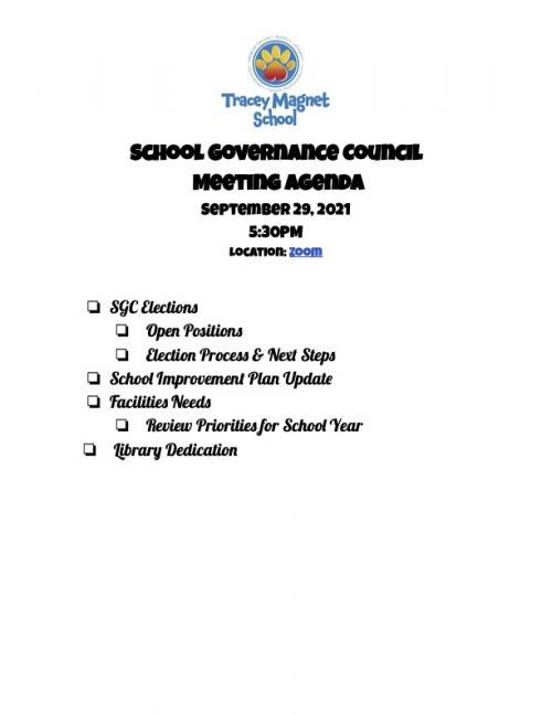 SGC Agenda for 9/29/21