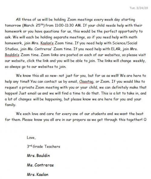 Parent letter 2