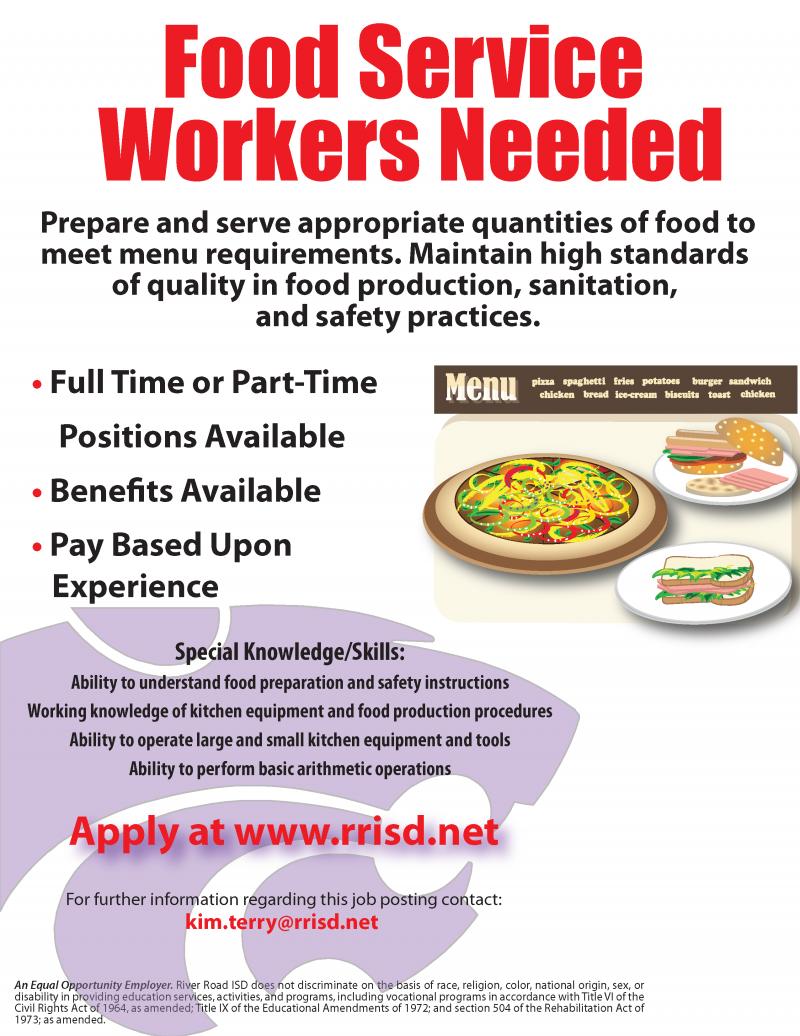 Food Service Workers needed job flyer
