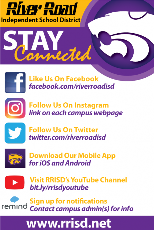 stay connected to district social media